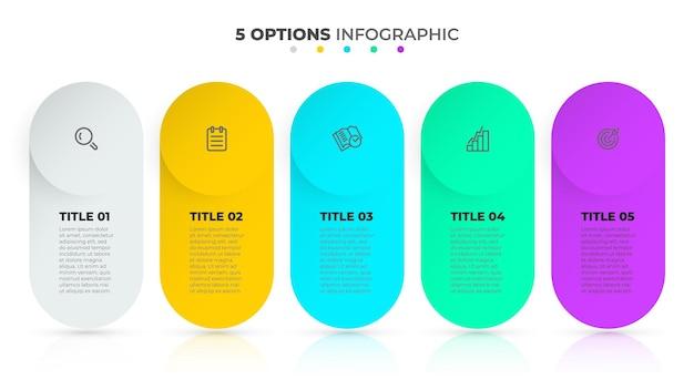 Szablon biznes plansza projekt osi czasu z ikoną i pięć opcji lub kroków ilustracja wektorowa