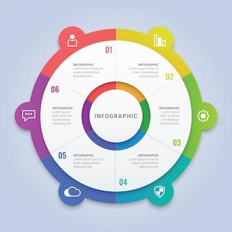Szablon biznesowego okręgu infographic z 6 opcjami dla układu przepływu pracy, diagramu, raportu rocznego, projektowania stron internetowych