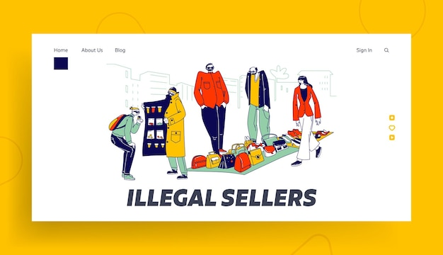 Szablon biznesowej strony docelowej znaków nielegalnych sprzedawców. przemytnicy sprzedają na czarnym rynku