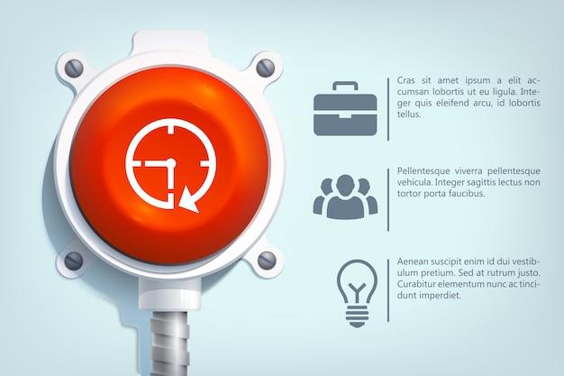 Szablon biznesowy infografika sieci web z ikonami tekstu i czerwony okrągły przycisk na metalowym słupie na białym tle