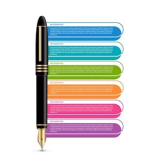 Szablon biznesowy infografiki długopis z sześcioma rozwiązaniami