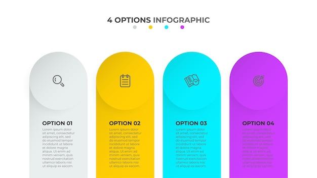 Szablon biznesowy infografiki projektowanie procesów na osi czasu z ikonami marketingowymi i czterema opcjami lub ilustracjami kroków