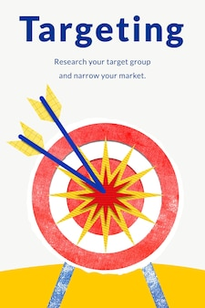 Szablon biznesowy kierowania na rynek z grafiką strzałki w strzałkę