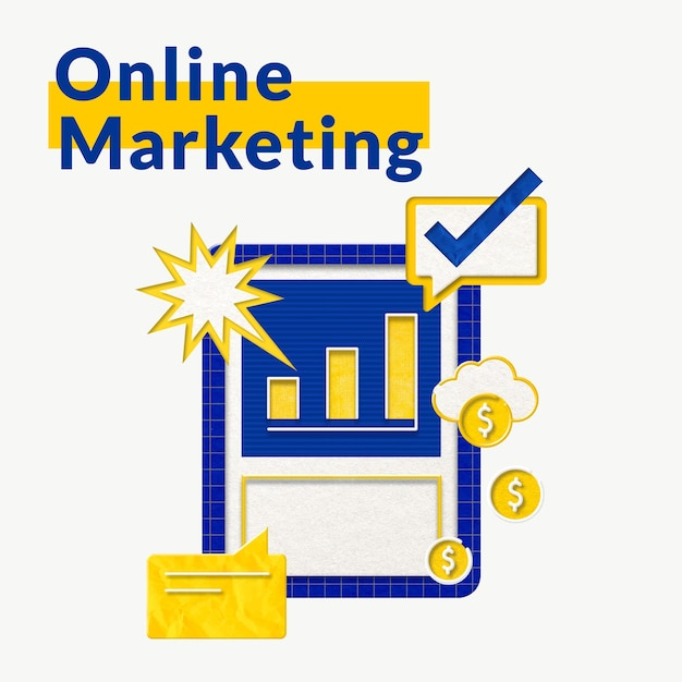 Szablon biznesowy marketingu online z grafiką wykresu słupkowego