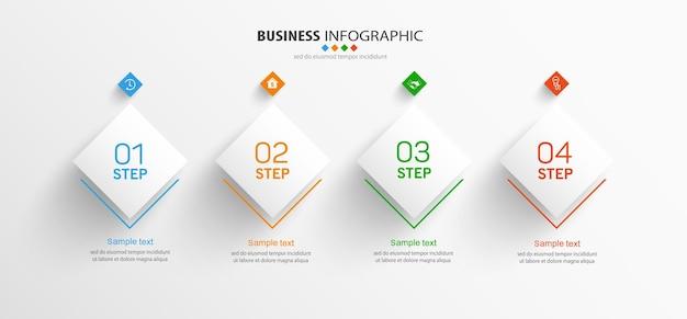 Szablon biznesowy plansza z opcjami, krokami lub procesami