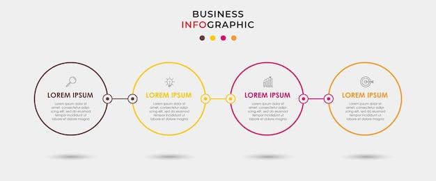 Szablon biznesowy projektu nfograficznego z ikonami i 4 opcjami lub krokami