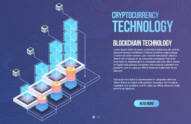 Szablon biznesowy sieci blockchain. skład izometryczny kryptowaluty i blockchain. górnictwo streszczenie technologia. cyfrowy system pieniężny. układ strony i aplikacji.