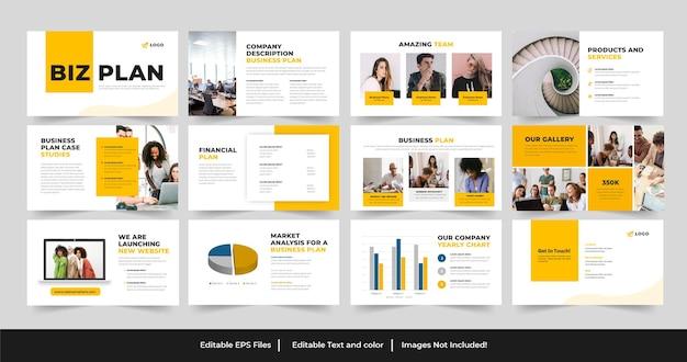 Szablon biznesplanu powerpoint lub projekt prezentacji biznesplanu