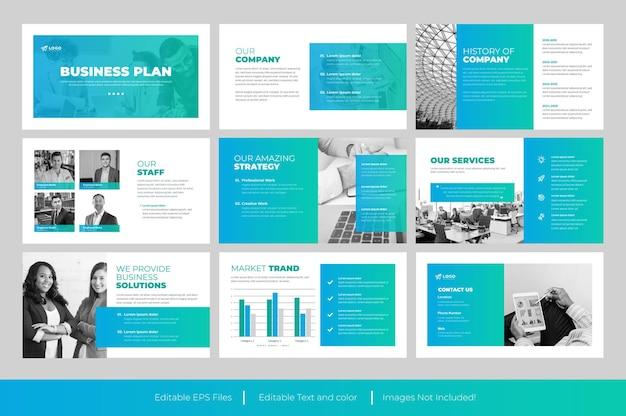 Szablon biznesplanu powerpoint lub slajd do prezentacji biznesplanu