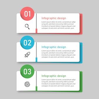 Szablon biznesu infografika z 3 opcjami premium wektorów