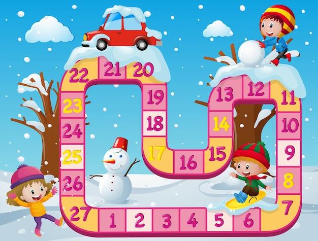 Szablon boardgame z dziećmi w śniegu