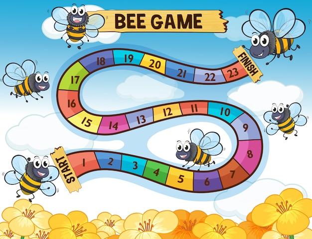 Szablon boardgame z lataniem pszczół