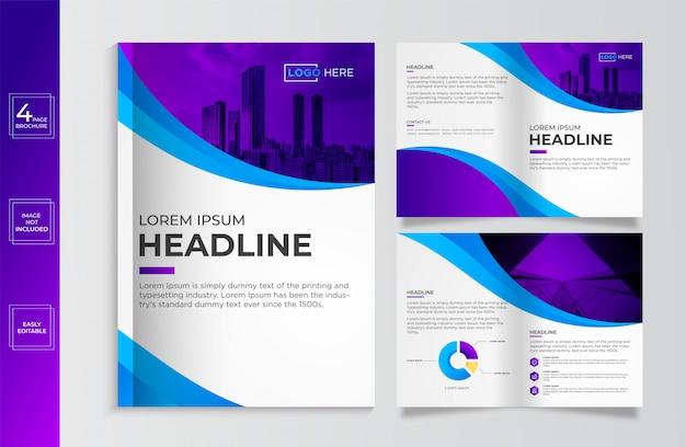 Szablon broszura nowoczesnego biznesu korporacyjnego bi-fold