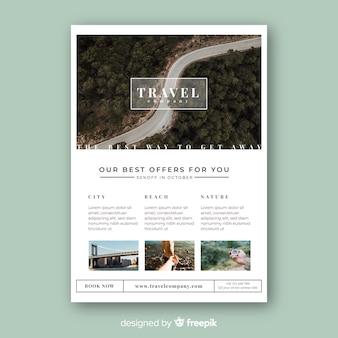 Szablon broszura podróży ze zdjęciem