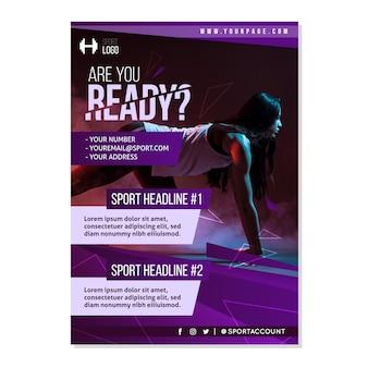 Szablon broszura sportowa ze zdjęciem