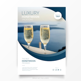 Szablon broszura wakacje dla nowożeńców