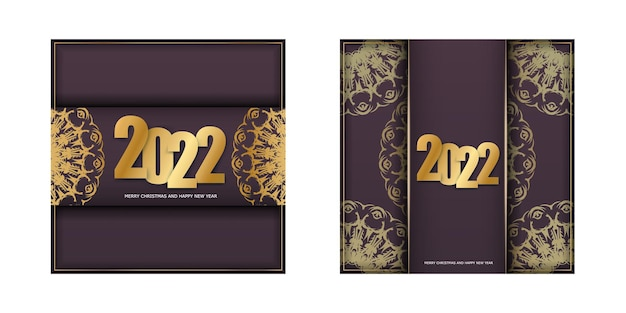 Szablon broszury 2022 szczęśliwego nowego roku bordowy kolor z luksusowym złotym wzorem