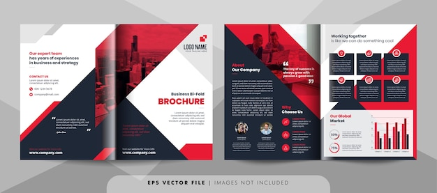 Szablon broszury bifold czerwony i czarny biznes.