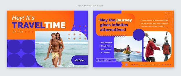 Szablon broszury czasu podróży o płaskiej konstrukcji