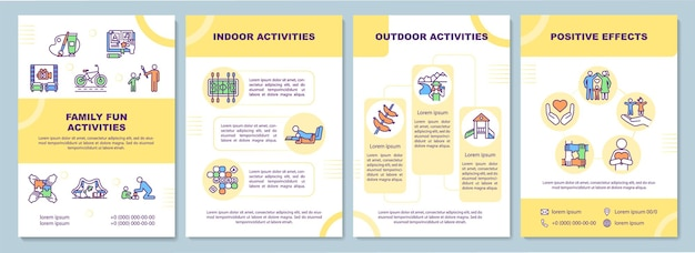 Szablon broszury dla rodzin z dziećmi. relaks rodziców. szablon ulotki