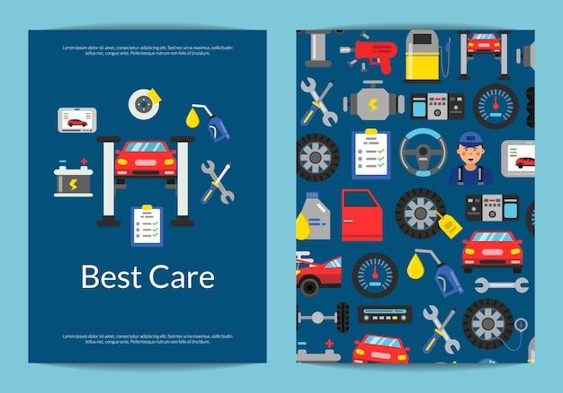 Szablon broszury dla serwisu samochodowego lub kursów z ilustracją elementów usług samochodowych w stylu płaski