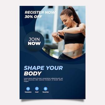 Szablon broszury dla sportu ze zdjęciem
