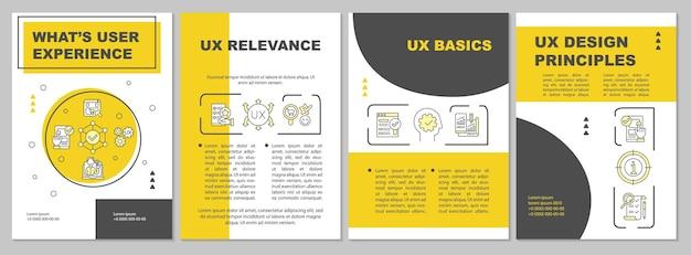 Szablon broszury doświadczenia użytkownika. podstawy ux. zasady projektowania. ulotka, broszura, druk ulotek, projekt okładki z liniowymi ikonami. układy wektorowe do prezentacji, raportów rocznych, stron ogłoszeniowych