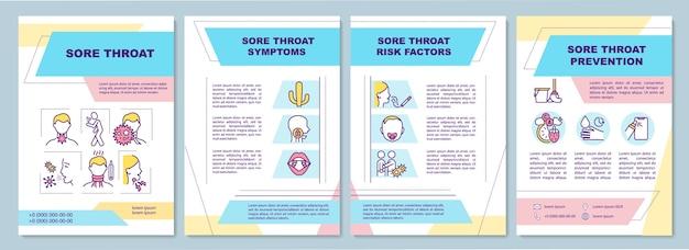 Szablon broszury dotyczący bólu gardła. różne objawy choroby.