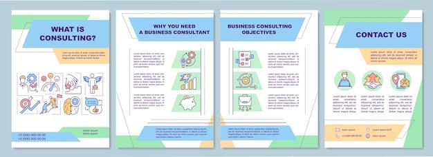 Szablon broszury dotyczący celów doradztwa biznesowego.