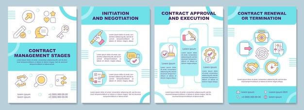 Szablon broszury dotyczący etapów zarządzania kontraktem. inicjacja i zatwierdzenie. ulotka, broszura, druk ulotek, projekt okładki z liniowymi ikonami. układy magazynów, raportów rocznych, plakatów reklamowych