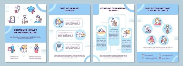 Szablon broszury ekonomicznego wpływu ubytku słuchu. koszt aparatu słuchowego