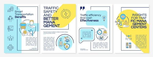 Szablon broszury korzyści inteligentnego transportu. ulotka, broszura, druk ulotek, projekt okładki z liniowymi ikonami. układy wektorowe do prezentacji, raportów rocznych, stron ogłoszeniowych