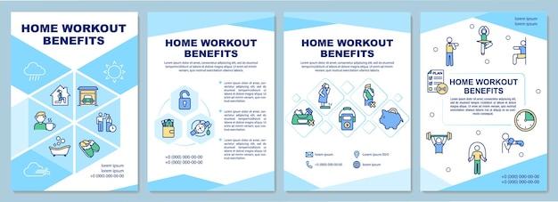 Szablon broszury korzyści treningu w domu. zalety ćwiczeń w domu. ulotka, broszura, druk ulotek, projekt okładki z liniowymi ikonami. układy czasopism, raportów rocznych, plakatów reklamowych