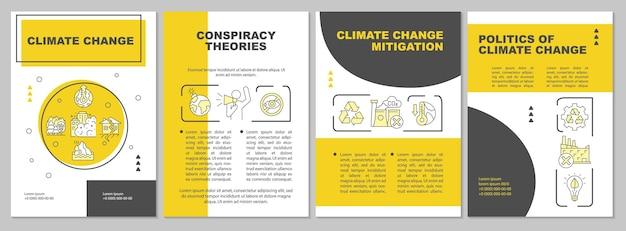 Szablon broszury łagodzenia zmian klimatu. teoria spiskowa. ulotka, broszura, druk ulotek, projekt okładki z liniowymi ikonami. układy wektorowe do prezentacji, raportów rocznych, stron ogłoszeniowych