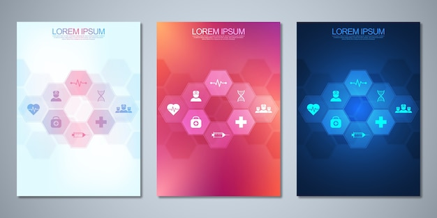 Szablon broszury lub okładki, książki, ulotki z medycznymi ikonami i symbolami. koncepcja technologii opieki zdrowotnej, nauki i medycyny.