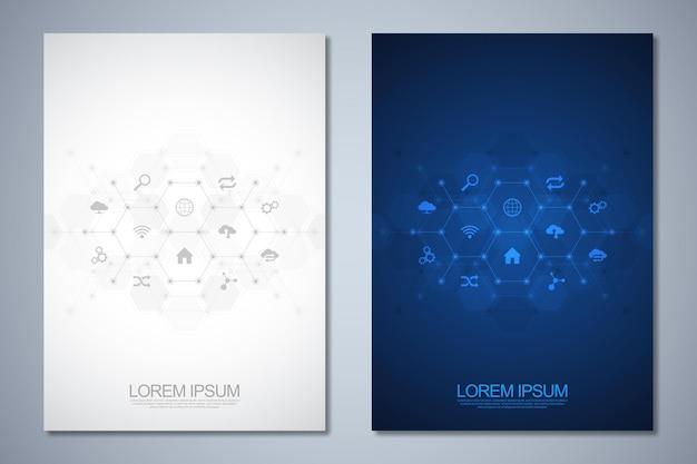 Szablon broszury lub okładki, układ strony, projekt ulotki z zapleczem technologicznym