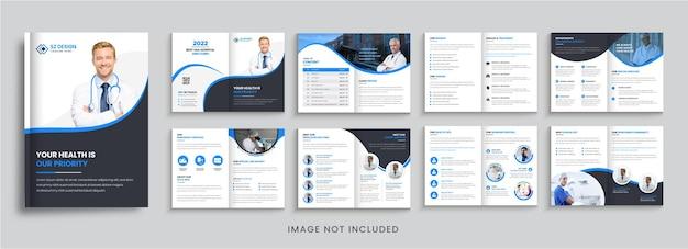 Szablon broszury medycznej lub zdrowotnej z geometrycznymi kształtami w kolorze niebieskim i czarnym