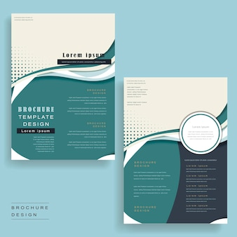 Szablon broszury o opływowym wyglądzie w kolorze niebieskim i białym