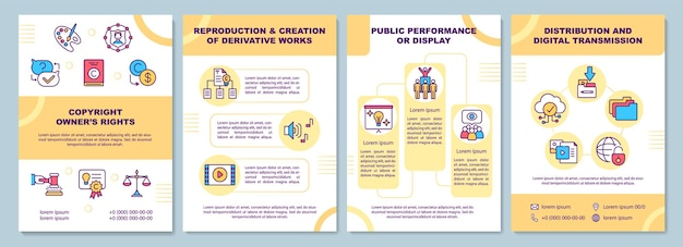Szablon broszury o prawach autorskich. reprodukcja. ulotka, broszura, druk ulotek, projekt okładki z liniowymi ikonami.
