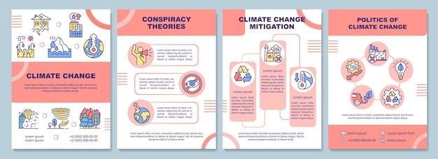 Szablon broszury o zmianach klimatu. teoria spiskowa i łagodzenie. ulotka, broszura, druk ulotek, projekt okładki z liniowymi ikonami. układy wektorowe do prezentacji, raportów rocznych, stron ogłoszeniowych