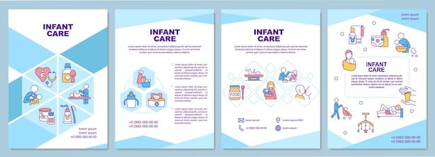 Szablon broszury opieki nad niemowlęciem. opieka zdrowotna dziecka. zmiana pieluch. ulotka, broszura, druk ulotek, projekt okładki z liniowymi ikonami. układy wektorowe do prezentacji, raportów rocznych, stron ogłoszeniowych