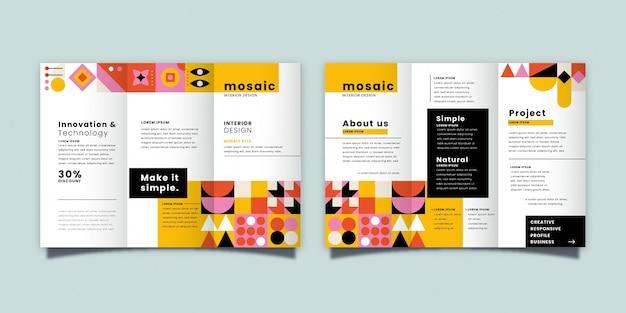Szablon broszury płaskiej mozaiki trifold
