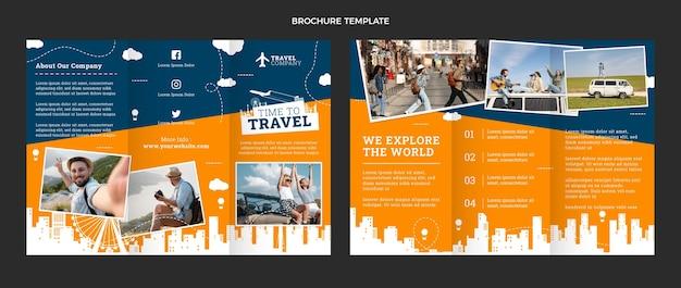 Szablon broszury podróżnej o płaskiej konstrukcji