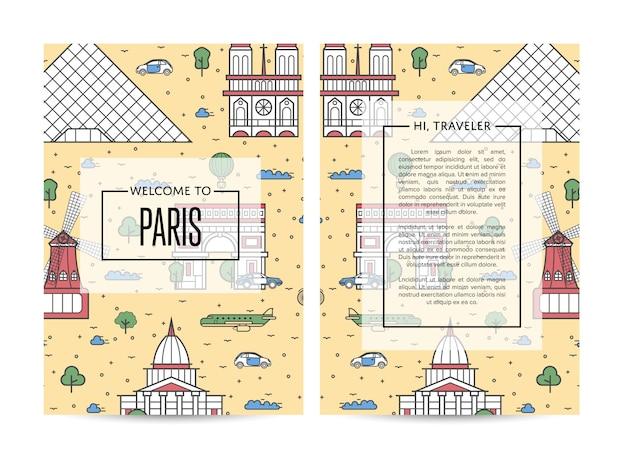 Szablon broszury podróżnej paryż ustawiony w stylu liniowym
