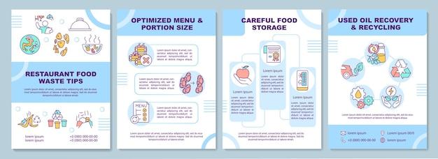 Szablon broszury porad dotyczących odpadów spożywczych w restauracji. zoptymalizowane menu. ulotka, broszura, druk ulotek, projekt okładki z liniowymi ikonami. układy czasopism, raportów rocznych, plakatów reklamowych