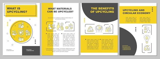 Szablon broszury procesu upcyklingu. recykling śmieci. ulotka, broszura, druk ulotek, projekt okładki z liniowymi ikonami. układy wektorowe do prezentacji, raportów rocznych, stron ogłoszeniowych