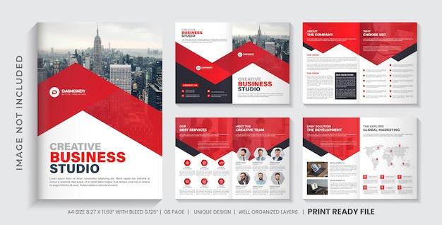 Szablon broszury profilu firmy lub projekt układu wielostronicowej broszury w kolorze czerwonym