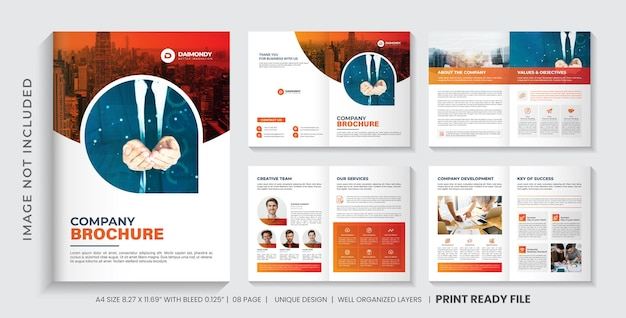 Szablon broszury profilu firmy lub wielostronicowy projekt broszury