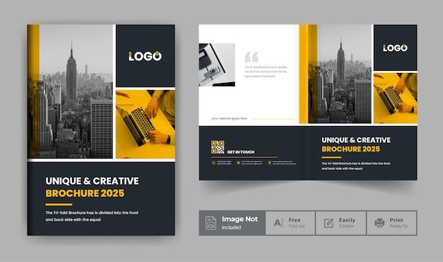 Szablon broszury profilu firmy lub żółty i czarny motyw strony tytułowej nowoczesnej broszury biznesowej