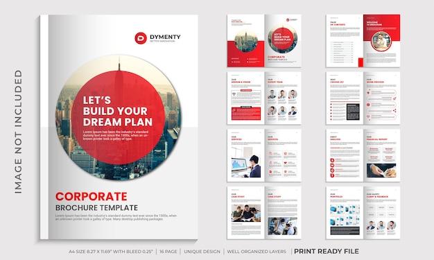 Szablon broszury profilu firmy, układ broszury korporacyjnej w kolorze czerwonym